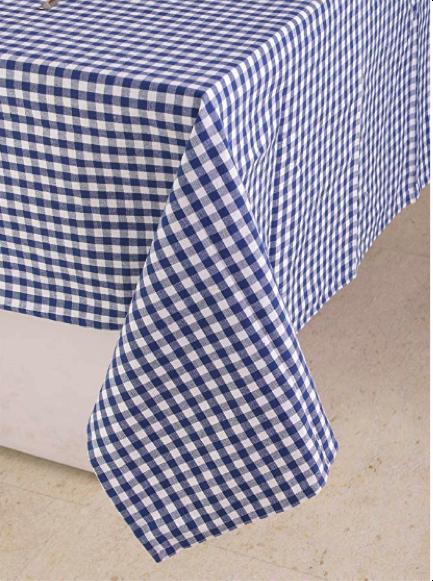 blue checkered tablecloth