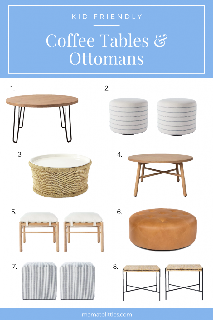 Kids Friendly Coffee Tables and Ottomans